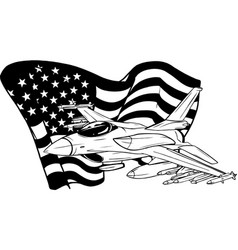 Draw in black and white military fighter jets vector