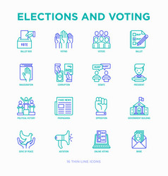 election and voting thin line icons set voters vector image