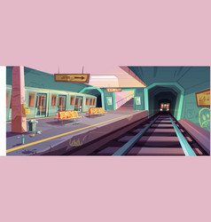 Empty messy subway platform with arriving trains vector