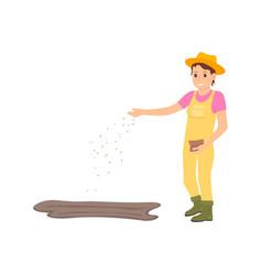 Farmer farming woman sowing vector
