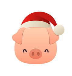 fat little pig with christmas santa red cap vector image