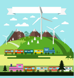 Flat design landscape with trains and wind mills vector