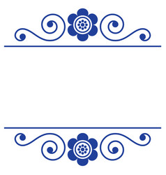 Floral folk art greeting card long pattern design vector