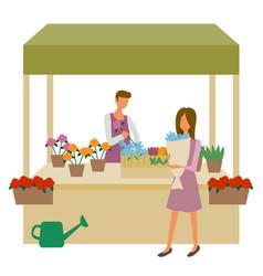 Flower market woman choosing bouquet seller vector