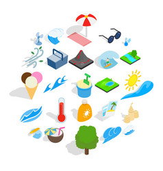 Frost icons set isometric style vector