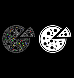 glossy mesh network pizza icon with light spots vector image