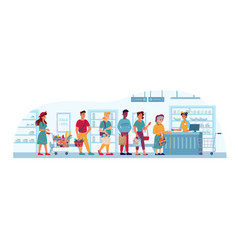 grocery store queue supermarket people in line vector image