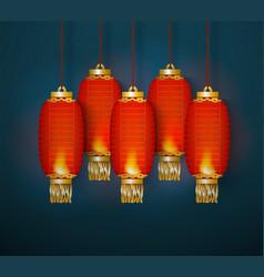 group celebration chinese red lanterns hanging vector image