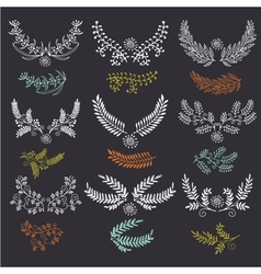 Hand drawn wreath set made in Leaves and vector image vector image