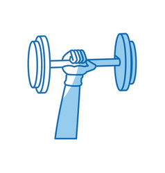 Hand holding dumbbell gym fitness vector