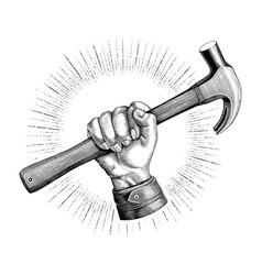 hand holding hammer vintage clip art for vector image