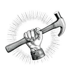 hand holding hammer vintage clip art vector image