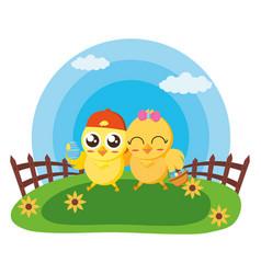 happy easter chicken vector image