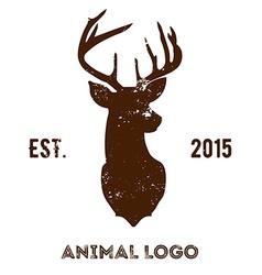 Hipster logotype with brown head of deer vector