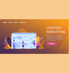 horizontal flat banner content marketing online vector image