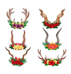 horns ornamental floral set vector image
