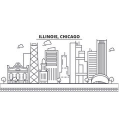 Illinois chicago architecture line skyline vector