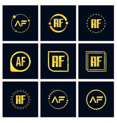 Initial letter af logo set design vector