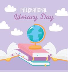 international literacy day school books map vector image