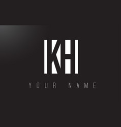kh letter logo with black and white negative vector image