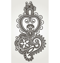 Line art ornate flower design Ukrainian traditiona vector