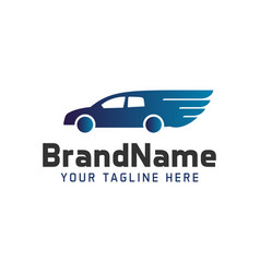 Logo car with wings automobile template vector