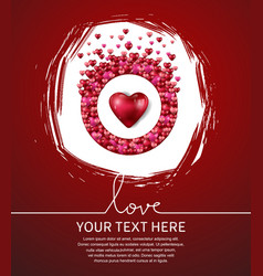 Love with red heart and circle on red vector