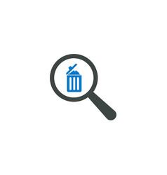 magnifying glass icon trash bin icon vector image