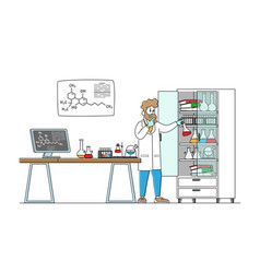 Man scientist wearing white coat conducting vector