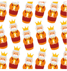 Manger wise king christmas seamless pattern image vector