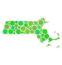 massachusetts state map mosaic of circles vector image