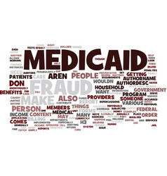 Medicaid fraud text background word cloud concept vector