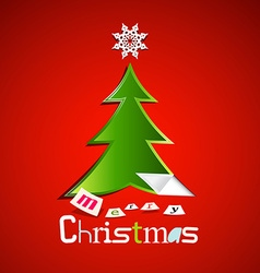 Merry Christmas Card - Green Paper Cut Xmas Tree vector image