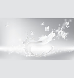 milk splash swirl shape and butterfly silhouettes vector image