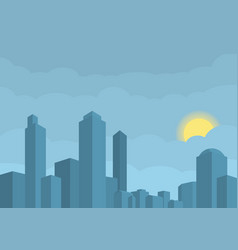 modern city sun hidden in vector image