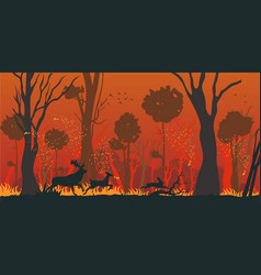 natural disaster forest fire flat concept vector image