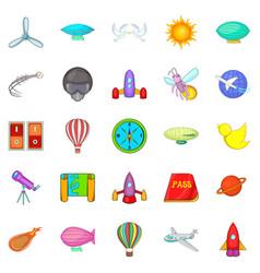 navigation icons set cartoon style vector image