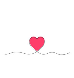 one continuous line heart with red heart core vector image