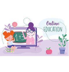 Online education teacher in computer and student vector