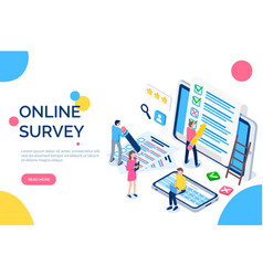 online survey people with screens and laptops vector image