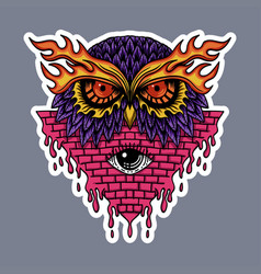 owl head stickers vector image