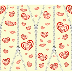 Pattern with zippers and red hearts vector image