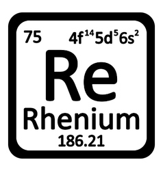 Periodic table element rhenium icon vector image