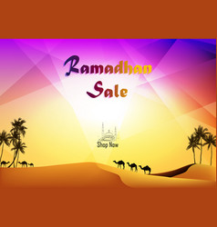 Ramadan kareem sale with camels at desert vector