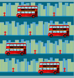 Red bus in the city seamless pattern vector
