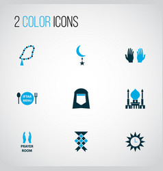 Religion icons colored set with ketupat menu vector