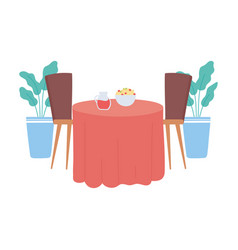 Restaurant interior table with food and beverage vector