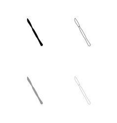 scalpel black and grey set icon vector image
