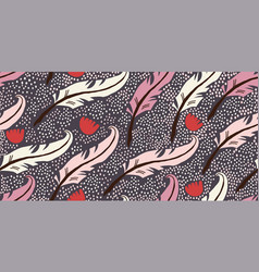 seamless pattern with feathers red flowers scandi vector image