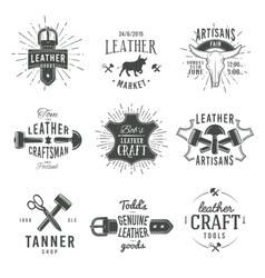second set grey vintage craftsman logo vector image